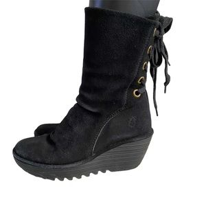 London Fly Yada Suede Wedge Boots